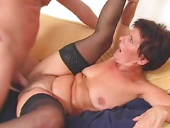 Granny In Stockings Wears Out The Lad