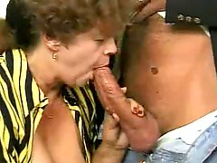 Horny Granny In Cafe