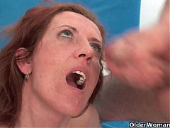Skinny MILF Gets Cum Coating