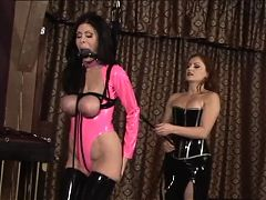Lesbian BDSM Girls In Pink And Black Latex Whip Spank And Torture Young Slave