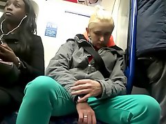 Girls Watch Guys Bulge On Train