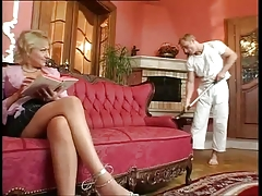 Stocking MILF Melanie Hairy Troia Takes Hard Cock In The Ass All The Way