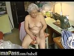 Omapass Horny Old Chubby Granny Masturbating With Dildo