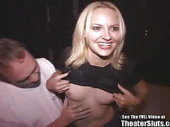Smiley Blonde Bitch Gang Fucked In Porno Theater