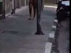Busty Shemale Walks Totally Nude On Street